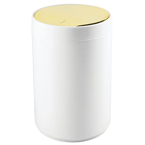 mDesign Small Round Plastic Trash Can Wastebasket, Garbage Container Bin...
