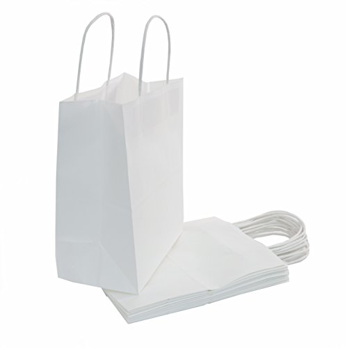 100 | 75 | 50 | 25 | 400 Count - White Kraft Paper Bulk Gift Bags with...