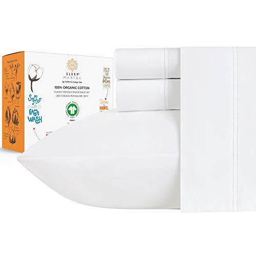 100% Organic Cotton Sheets - Crisp and Cooling Percale Weave, GOTS...