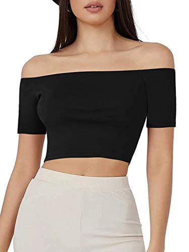 HUHOT Sandy Grease Costume Womens Basic Short Sleeve Off The Shoulder Tops...