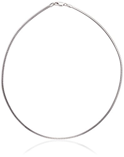 Sterling Silver Italian 3 mm Solid Omega Chain Necklace, 18'
