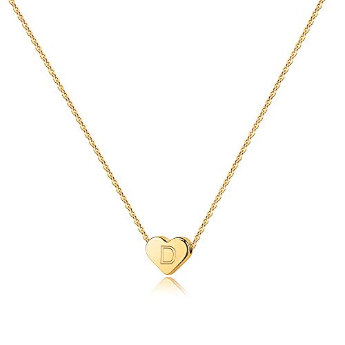 Dainty D Initial Necklace for Teens - 14K Gold Filled Heart Pendant...