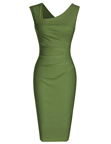 MUXXN Ladies Classic Cut Out Neck Empire Waist Ruched Bridesmaid Prom Dress...