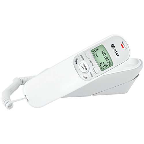 AT&T TR1909W Corded Trimline Phone with Caller Id (White)