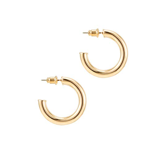PAVOI 14K Yellow Gold Colored Lightweight Chunky Open Hoops | 30mm Yellow...