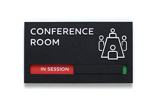 Kubik Letters Conference Room Sign with Slider for Dual Messages Room...