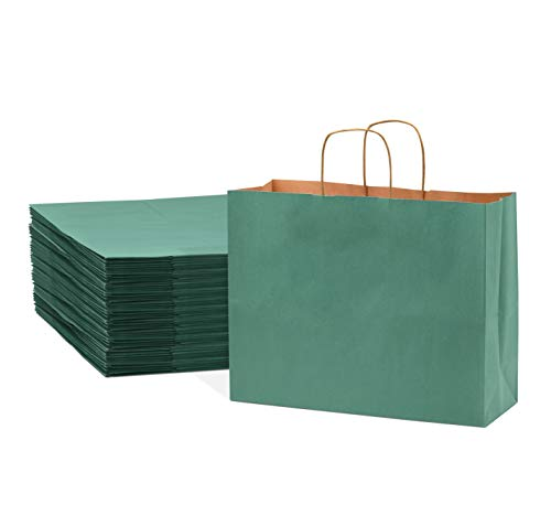 Green Paper Bags with Handles – 16x6x12 inches 50 Pcs. Paper Shopping...