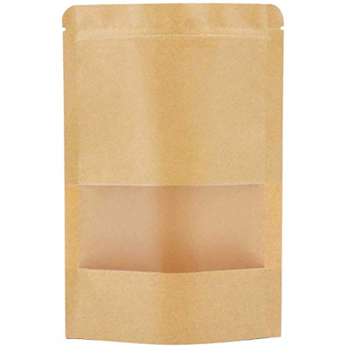Resealable Bags,Kraft Stand up Pouches with Window,50packs Zip Lock Coffee...