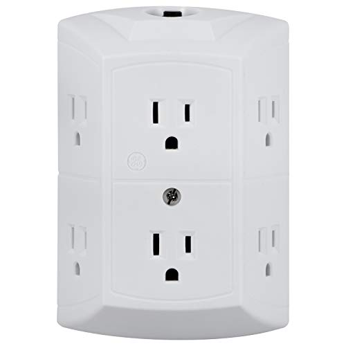 GE 6-Outlet Extender, Grounded Wall Tap, Reset Button, Circuit Breaker,...