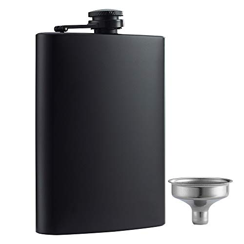 YWQ Hip Flask for Liquor Matte Black 8 Oz Stainless Steel Leakproof with...