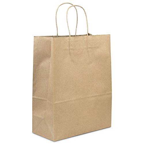 [50 Pack] Heavy Duty Kraft Paper Bags with Handles 13 x 10 x 5' 12 LB...