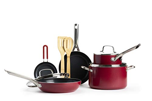 Red Volcano Textured Ceramic Nonstick Cookware Pots and Pans Set, 14 Piece