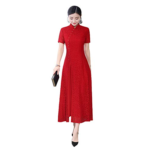 Shanghai Story Long Cheongam Dress Lace Qipao Chinese Style Dress L Red