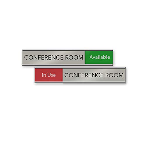 Quality Satin-Aluminum Conference Room Slider Signs - 6 x 1 - Made in The...
