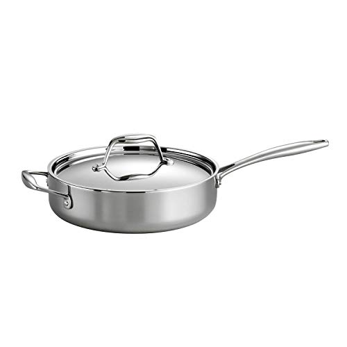 Tramontina Covered Deep Saute Pan Stainless Steel Induction-Ready Tri-Ply...