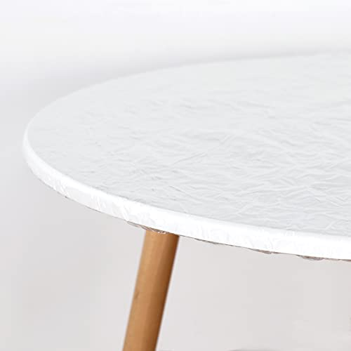 LUSHVIDA Round Waterproof Table Cover Elastic Tablecloth Vinyl Fitted Table...