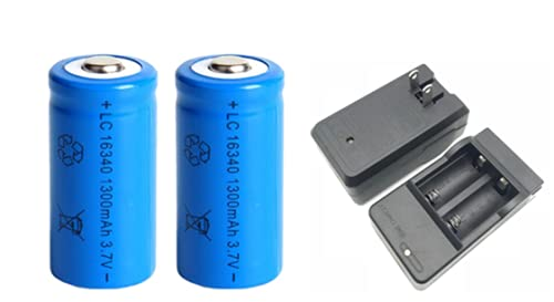 1300mAh 3.7V Li-ion Rechargeable 16340 Batteries CR123A Battery for...