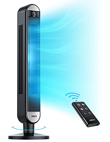 Dreo Tower Fan with Remote, 90° Oscillating Bladeless Fan, 42 Inch, Quiet...