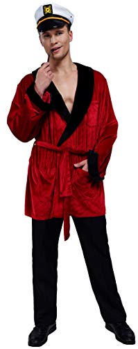 Men's Velvet Smoking Robe Jacket With Belt Includes Captain Hat and Toy...