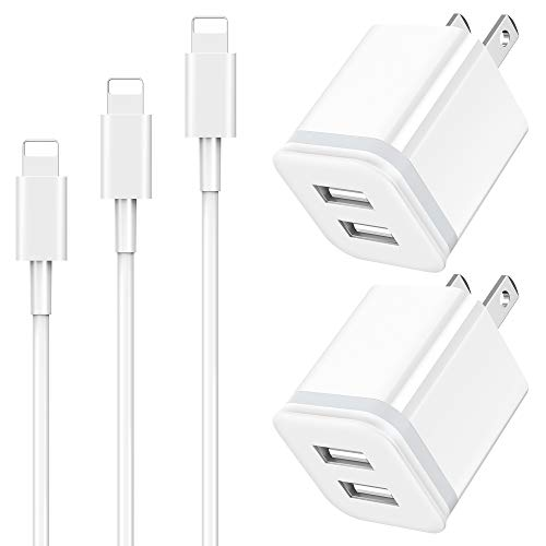 Phone Charger Cable 3ft 6ft 10ft with Wall Plug, LUOATIP 5-Pack Long...