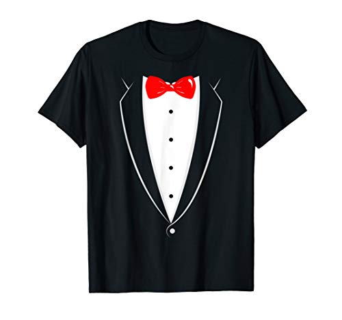 Black And White Tuxedo With Red Bowtie Funny T Shirt