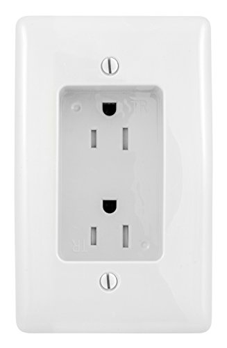 Bryant Electric RR1510W Box Mount 1-Gang Recessed TV Connection Outlet...
