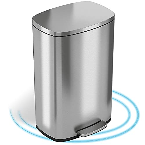 iTouchless SoftStep 13.2 Gallon Stainless Steel Step Trash Can with Silent...