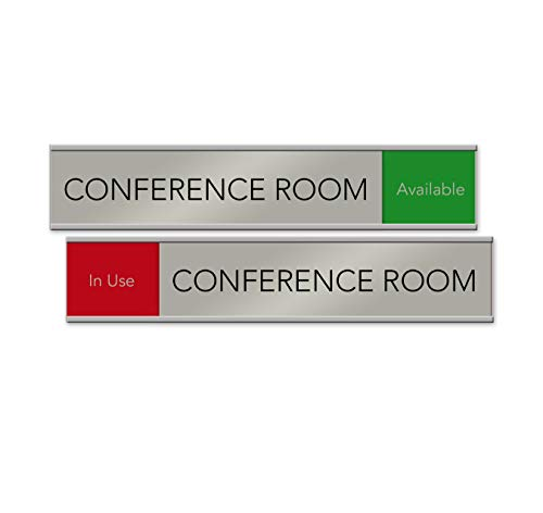 Quality Satin-Aluminum Conference Room Slider Signs - 10 x 2 - Made in The...