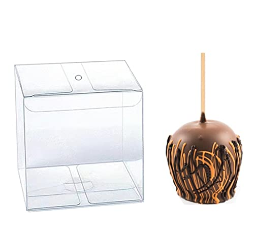30 PCS Clear Candy Apple Box With Hole,4'x 4'x 4' Transparent Favor Boxes...
