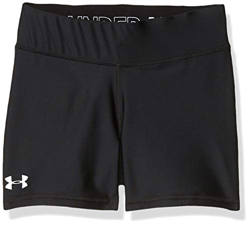 Under Armour 4' Volleyball Short, Black (001)/White, Youth Large
