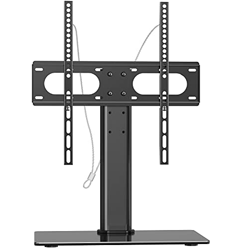WALI Table Top TV Stand with Glass Base and Security Wire Fits Most 32 to...