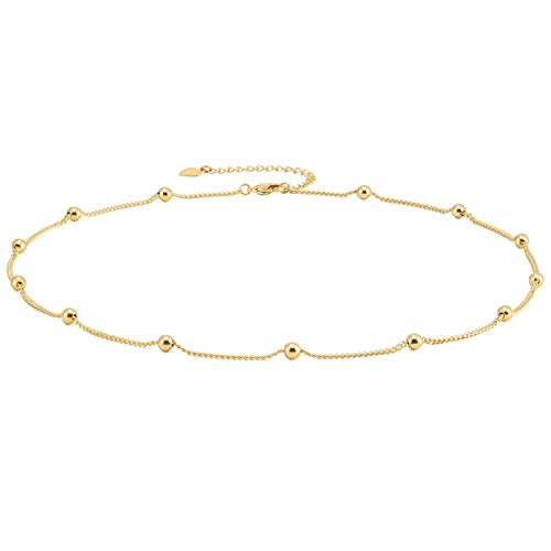 Gold Choker Necklace for Women 18k Gold Plated Curb Ball Satellite Chain...