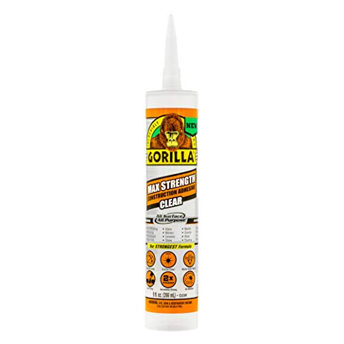 Gorilla 8212302 Max Strength Clear Construction Adhesive, 1-Pack