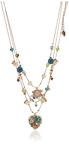 Betsey Johnson Woven Mixed Multi-Colored Bead Flower Heart Illusion...