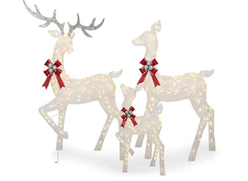 Large 3-Piece LED Lighted Holiday Deer Family - 60' Buck, 52' Doe & 28'...