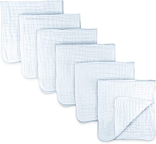 Muslin Burp Cloths 6 Pack Large 100% Cotton Hand Washcloths 6 Layers Extra...