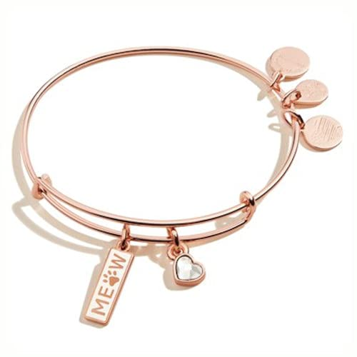 Alex and Ani Expandable Wire Bangle Bracelet for Women, Meow Duo Charm,...