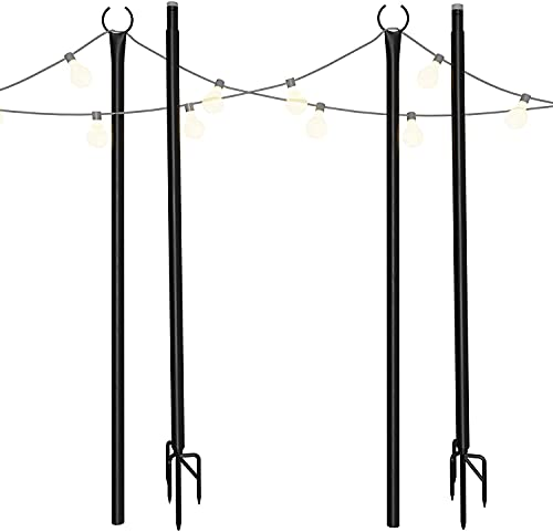 Holiday Styling String Light Pole - Outdoor Metal Poles with Hooks for...