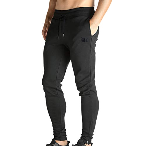 BROKIG Mens Zip Jogger Pants - Casual Gym Fitness Trousers Comfortable...