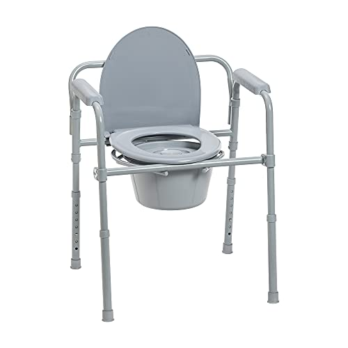 Drive Medical 11148-1 Steel Folding Bedside Commode, Grey, Bariatric,...