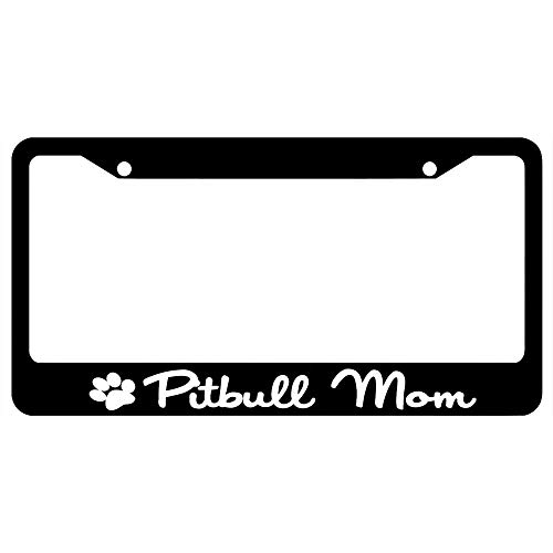 Pitbull Mom with Paw Print Customized Black License Plate Frame Tag, Humor...