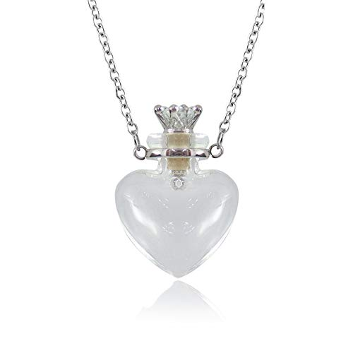 1PC Clear Heart Vial Perfume Bottle Necklaces Stainless Steel Chain Make a...