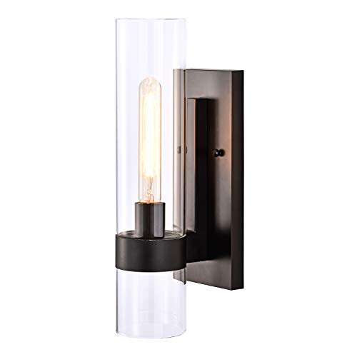 1-Light Vanity Wall Light Bathroom Black Arm Sconce with Cylinder Clear...