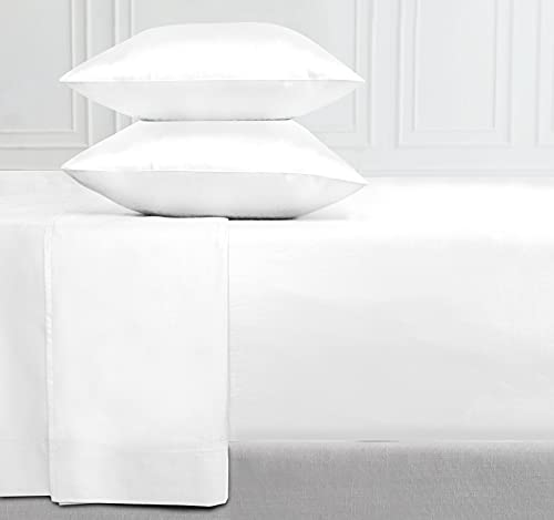 400-Thread-Count 100% Cotton Sheet Pure White Queen-Sheets Set, 4-Piece...