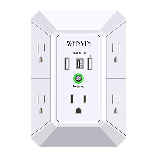 USB Wall Charger, Surge Protector, 5 Outlet Extender with 3 USB Ports,...