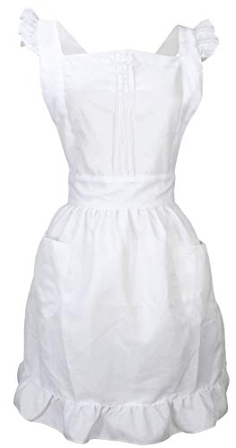 LilMents Retro Adjustable Ruffle Apron with Pockets, Small to Plus Size...
