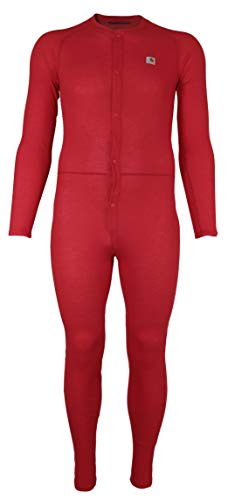 Carhartt Men's Force Classic Thermal Base Layer Union Suit, Red, Medium