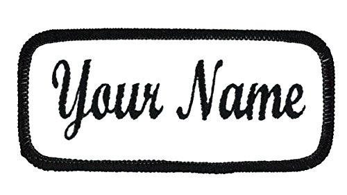 Name Patch Uniform Work Shirt Personalized Embroidered White with Black...