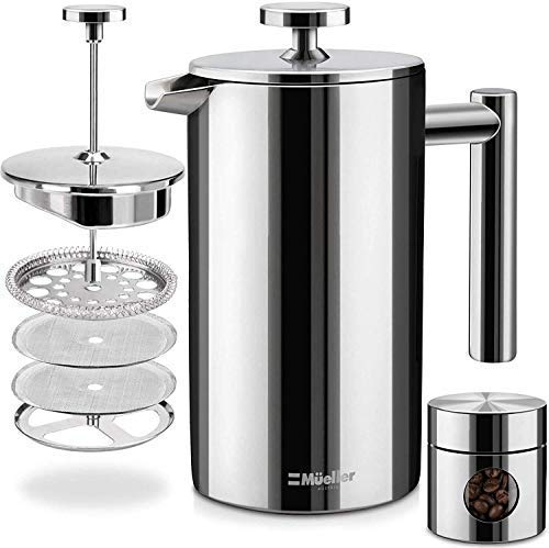 Mueller French Press Double Insulated 304 Stainless Steel Coffee Maker 4...