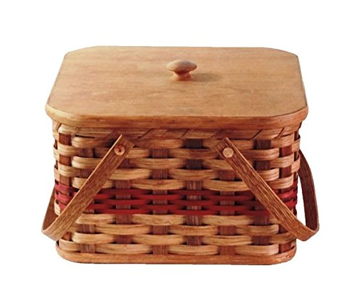 Amish Handmade Square Double Pie Basket w/Inside Tray, Lid, and Two...